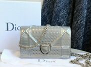Auth Christian Dior Metallic Silver Micro Cannage Leather Baby Diorama Flap Bag