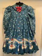 Vintage Original Factory Made Daisy Kingdom Dress With Pinafore Turquoise/blue 4