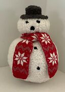 Pottery Barn Cozy Snowman Shaped Pillow Christmas New W/tags Sold Out