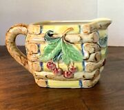Vintage Japanese Majolica Creamer - Red Cherries And Green Leaves In High Relief