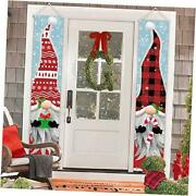 Outdoor Christmas Decorations - Gnomes Porch Sign Banners Hanging Decorations