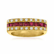 Vintage Ruby And Diamond Squared Ring In 14kt Gold Size 6