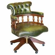 Vintage Chesterfield Fully Buttoned Green Leather Captains Directors Chair