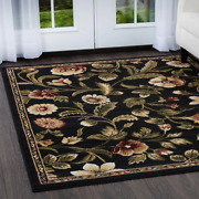 Black Area Rug Floral 8x10 Clearance For Living Room Large Modern Reduced Price