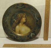 Anheuser-busch's Malt-nutrine - Decorative Metal Plate With Lady - Pat Feb 1905