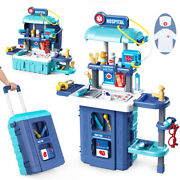 Kids Children Doctor Role Play Toys Set Portable Luggage Type Design Medical Kit