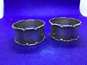 Antique Vintage Solid Silver Pair Napkin Rings London Hallmarked 1919 Beautiful