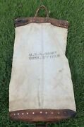 Vintage 40s Wwii Us Navy U.s.s. Barry Command Officer Leather Canvas Mail Bag.