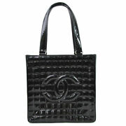 Shoulder Bag Chocolate Bar Coco Mark Black Patent Leather Silver F _56110