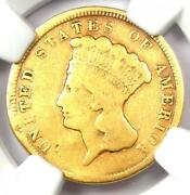 1854 Three Dollar Indian Gold Coin 3 - Certified Ngc Vg Details - Rare Coin