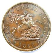 1850 Bank Of Upper Canada Penny 1p - Certified Anacs Ms65 Gem Bu Unc