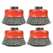 Aain 4 Pack Wire Cup Brush For Grinders 3 Inch Crimped Wire Wheel Brush With ...