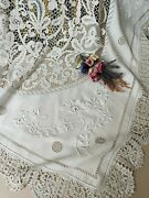 Vintage Irish Linen And Bobbin Crochet Lace Tablecloth Exquiste White Work