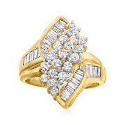 C. 1980 Vintage 2.50 Ct. T.w. Diamond Cluster Ring In 14kt Yellow Gold. Size 7
