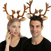 2 Reindeer Ears Antler Headband One Size Fit All For Kids Adults Trick Or