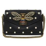 Broadway Chain Shoulder Bag Black Antique Gold Fittings Women And039s _45153