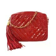 Shoulder Bag Fringed Chain Patent Leather Red Gold Fittings Second _58160