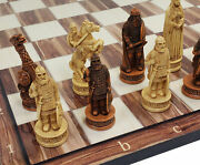 Antique Ivory And Brown Norse Viking Chess Set 3 1/4 King 17 Cedar Color Board