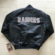 Nwt Vintage Starter Nfl Los Angeles Oakland Raiders 80andrsquos 90andrsquos Satin Jacket Large