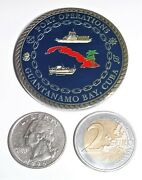 Challenge Coin - Usn - Port Operations Guantanamo Bay - Serving Democracy In Com