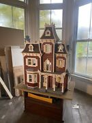 Antique Dollhouse With Miniatures And Rotating Table