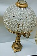 Antique Bohemian Cut Crystal Beads Shade With Bronze Base Table Lamp 1900's Rare