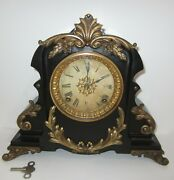 Antique Ansonia Sevres Mantel Clock 8-day Time/gong Strike Key-wind