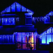 96leds Curtain Icicle Lights Wedding Party Led Fairy Christmas In/ Outdoor Blue