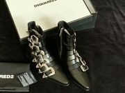 Nwt Dsquared2 Gothika Buckle Leather Boots Made In Italy