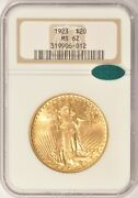 1923 20 Saint Gaudens Gold Double Eagle Coin Ngc Ms62 Cac Pre-1933 Gold