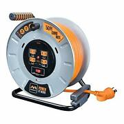 Masterplug Heavy Duty Metal Cord Reel With 4-120v 15amp Integrated Outlets An...
