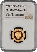 Very Rare 2002 Great Britain Gold Proof 20 Pence Coin Ngc Pf 68 Ultra Cameo