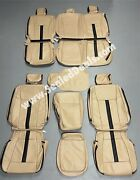 2015-2018 Ford F-150 Xlt Super Crew Custom Med Camel And Black Leather Seat Covers