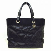 Palivia Ritz Tote Mm Bag Silver Fittings Black Coated C _58906