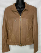 White House Black Market Womens Lined Leather Jacket Size Small Zip Pockets Nwot