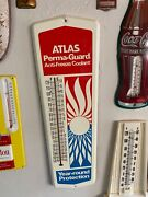Vtg Thermometer Atlas Permaguard Anti Freeze Thermometer Sign Gas Oil Auto Feed