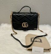 New Gg Marmont Top Handle Matelasse Small Black Retail 2690