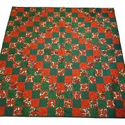 Handmade Quilt Throw Christmas Trip Around The World Colorful Stippled New