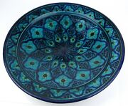 Italian Pottery Centerpiece Bowl Wall Hang Blue Turquoise 16 Mid Century Modern