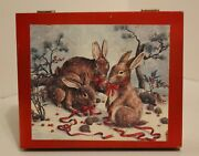 Vintage Wooden ''rabbits'' 30 Cube Rabbits Puzzle Game In Wooden Box