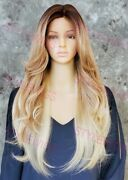 Light Blonde Ombre Long Straight Heat Safe Lace Front/top Human Hair Wig Evee