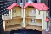 Sylvanian Families Big House With Lights Doll Clothes Furniture Etc Together