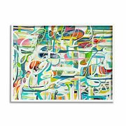 Stupell Industries Curved Line Chaos Lively Blue Abstract Movement Designed B...