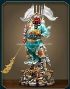 18 Inch Bronze Colored Drawing Folk Military God Of Wealth Nine Dragon Guan Gong