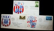 3 Vintage Us Stamp First Day Cover All 1945 Army Navy Iwo Jima Wwii 5