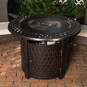 Gas Fire Pit Outdoor Patio Table Top With Cover And Fire Glass Antique Bronze