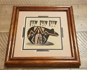 Signed Marked Navajo Sandpainting From New Mexico. Framed. Bear. See Photo Frame