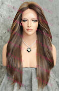 Light Brown/blonde Long Straight Heat Ok Lace Front/top Human Hair Wig Evee