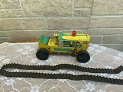 Vintage 1950s Marx Wind Up Tin Tractor Toy No 5 Yellow Green Metal Farm