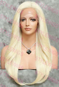 Light Blonde Long Straight Heat Ok Lace Front/top Human Hair Blend Wig Evee
